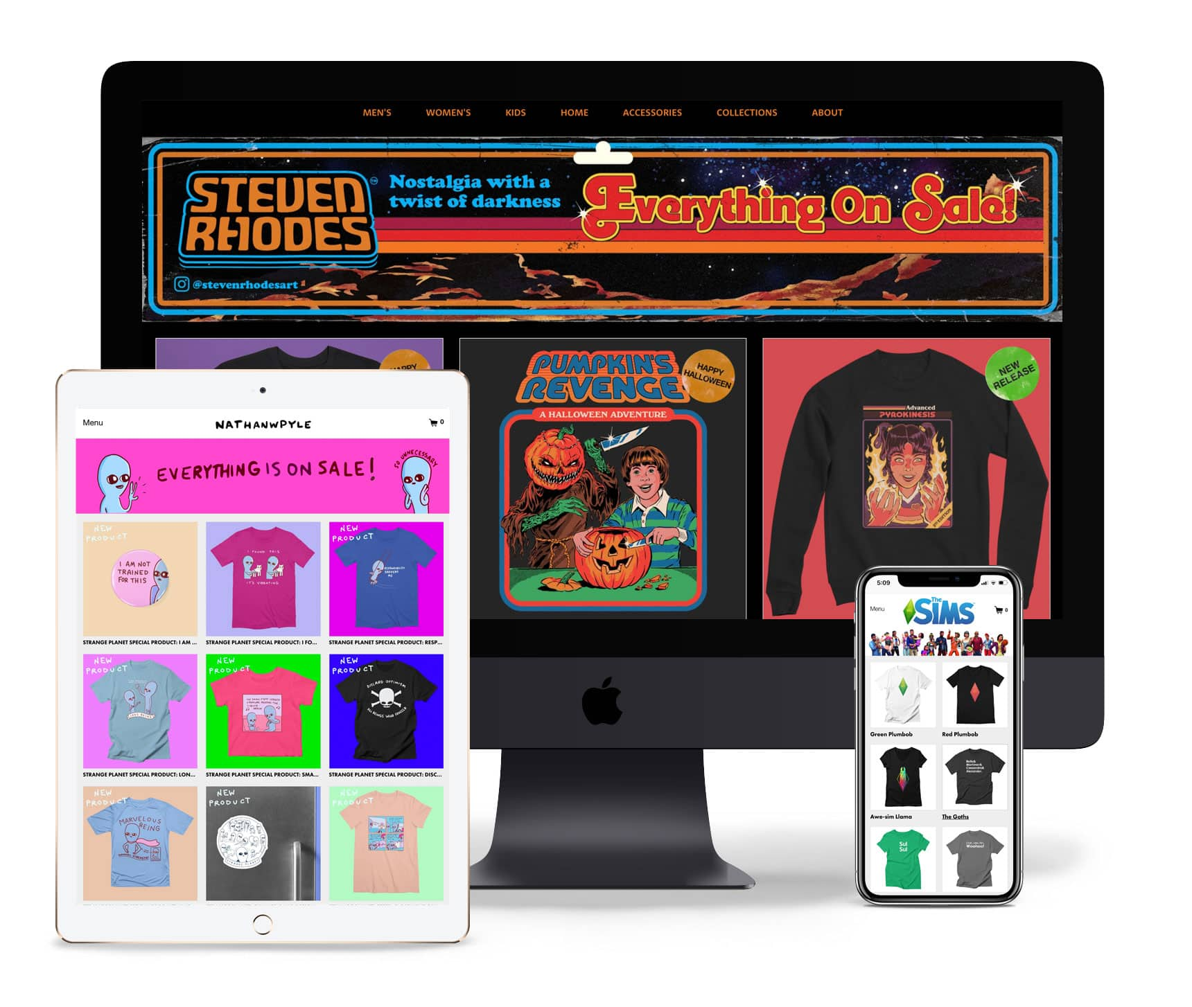 Screenshots of responsive Artist Shops