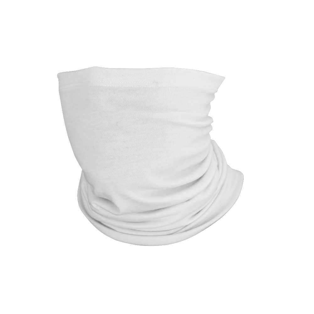 Performance lycra one-size-fits-most, form-fitting neck gaiter that can be worn 12 different ways on the neck and head.