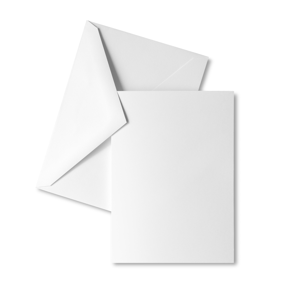 Full-color, front-printed heavyweight greeting card packs, with blank insides, with envelopes.