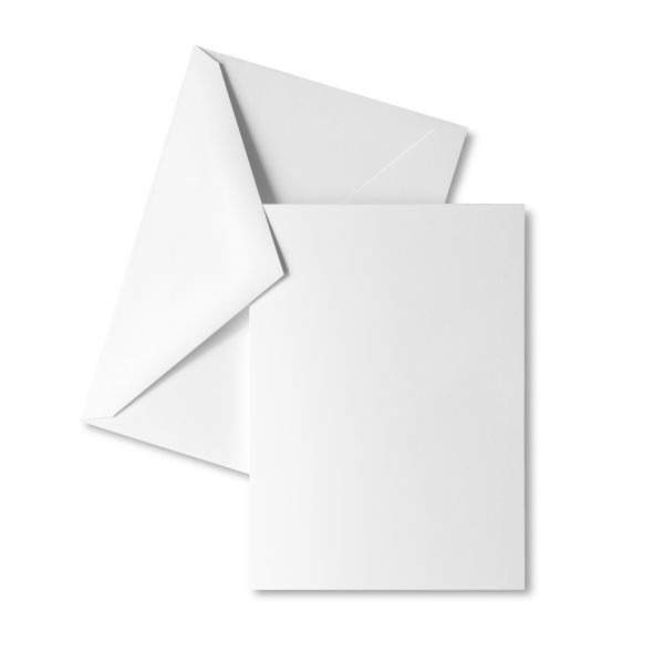 5 x 7-inch front-printed heavyweight greeting cards, blank inside, with envelopes.