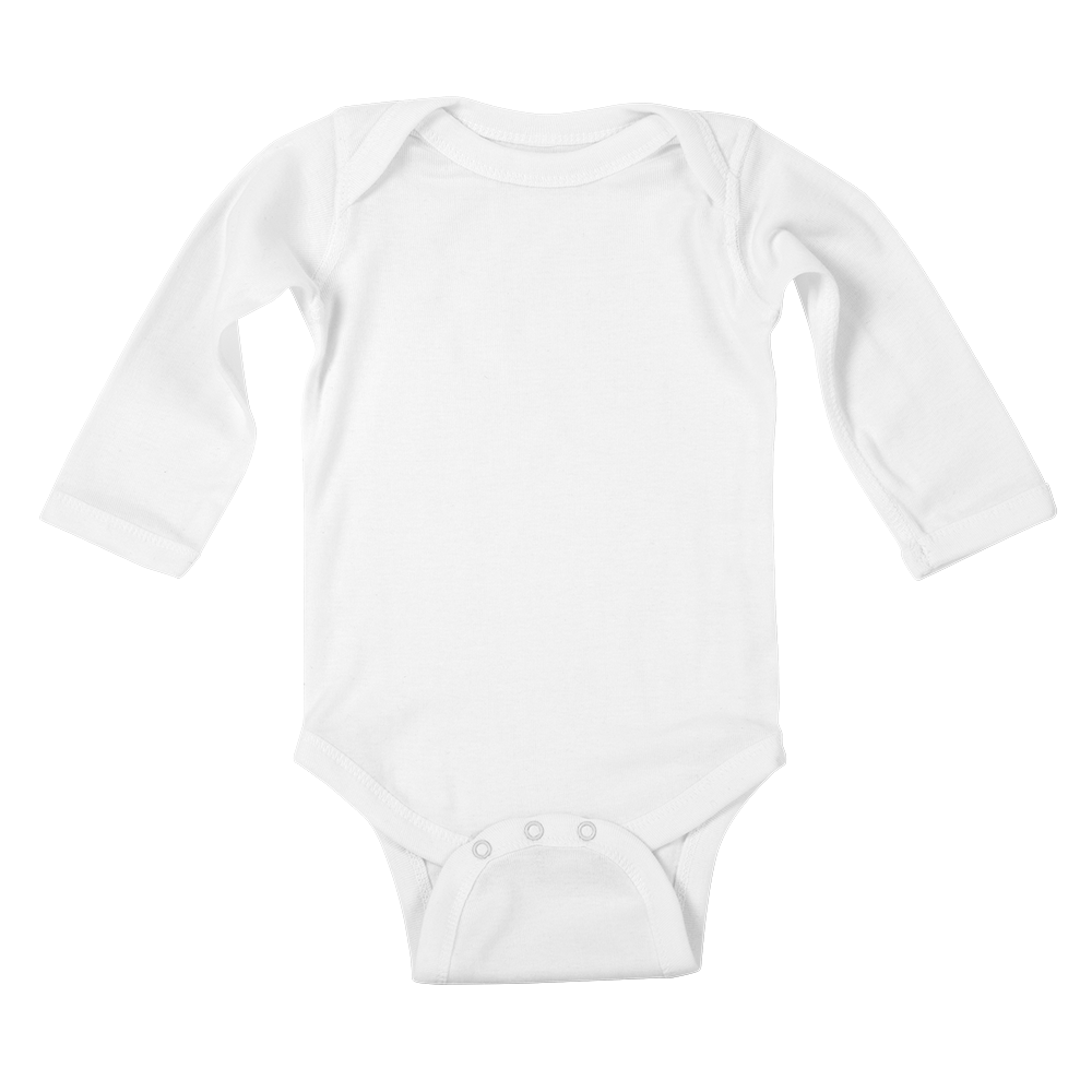 The custom longsleeve baby bodysuit keeps baby warm, cozy, and super cool.