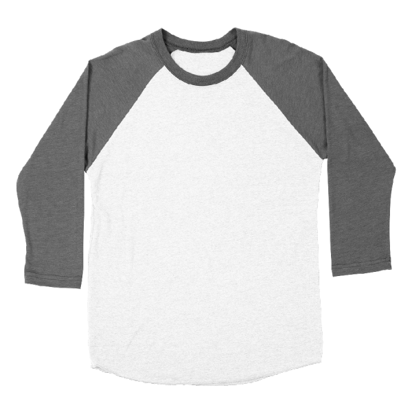Custom printed 3/4 sleeve raglan baseball t-shirts
