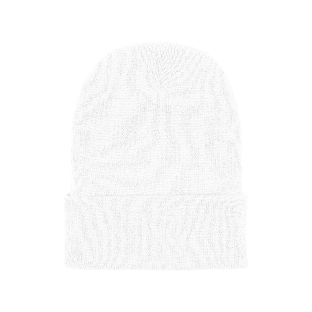 100% hypoallergenic acrylic cuffed knit beanie that's one-size-fits-all.