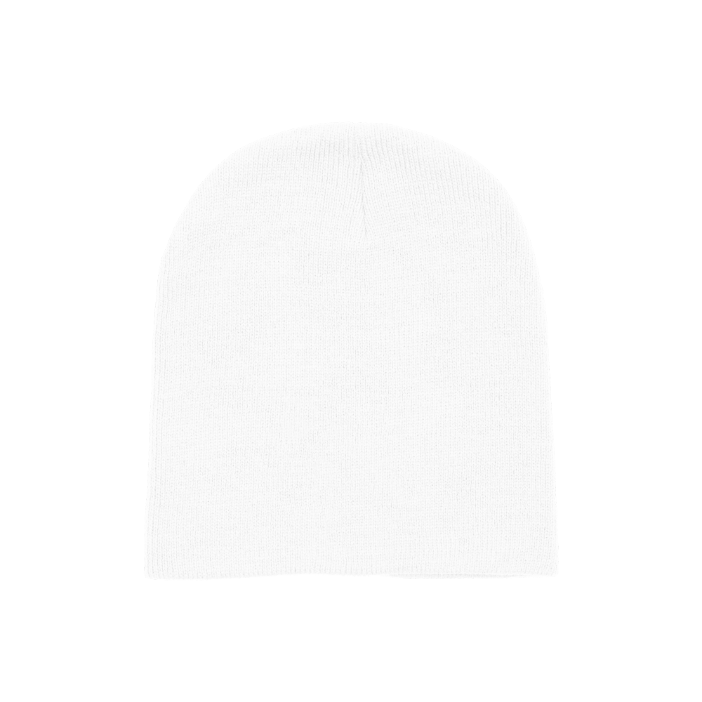 100% hypoallergenic acrylic knit beanie that's one-size-fits-all.
