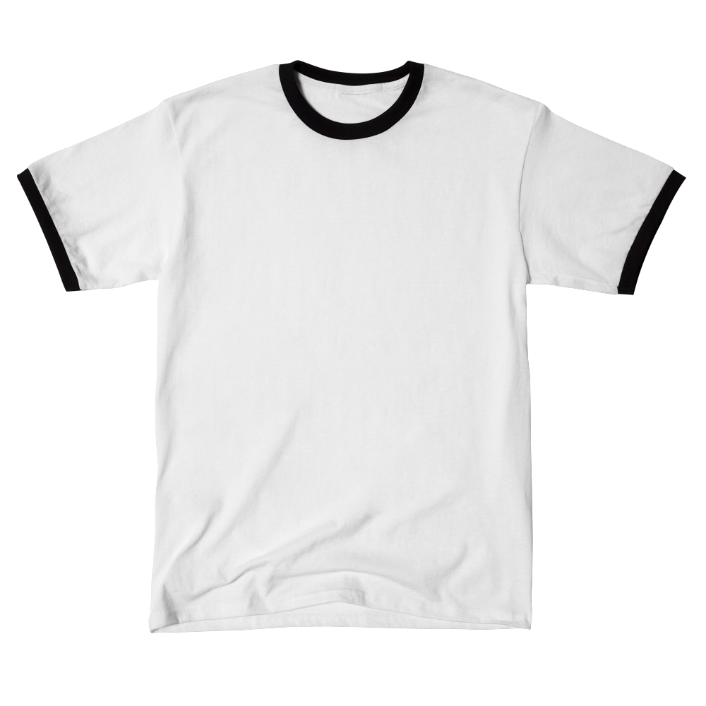 A 50/50 blended jersey knit ringer tee with contrasting bands on the neck and sleeves.