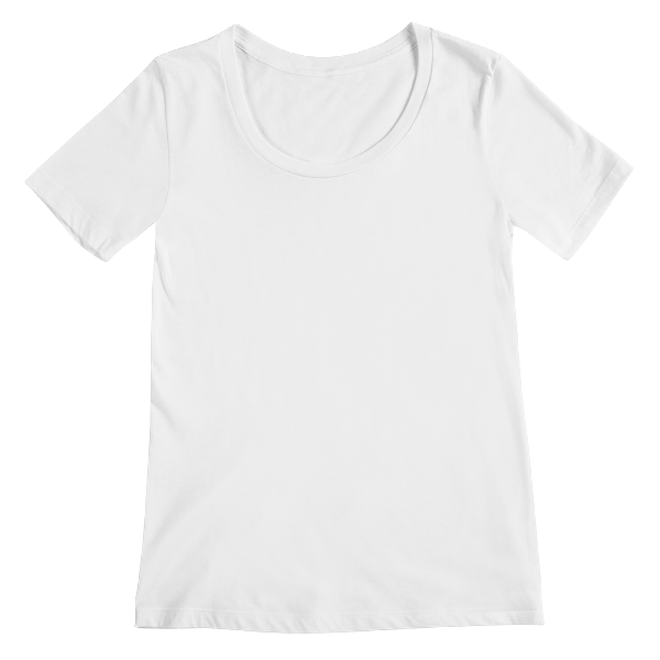 Custom printed scoopneck tee with a rounded neckline