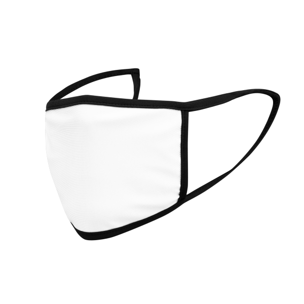 Soft, polyester youth-sized face masks in small and large sizes.