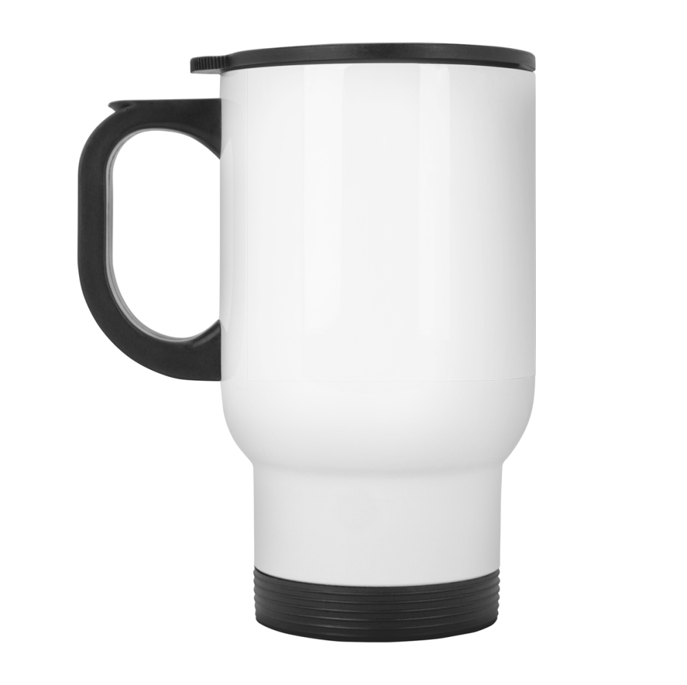Super sleek stainless steel custom travel mug with a handle for the ultimate convenience.