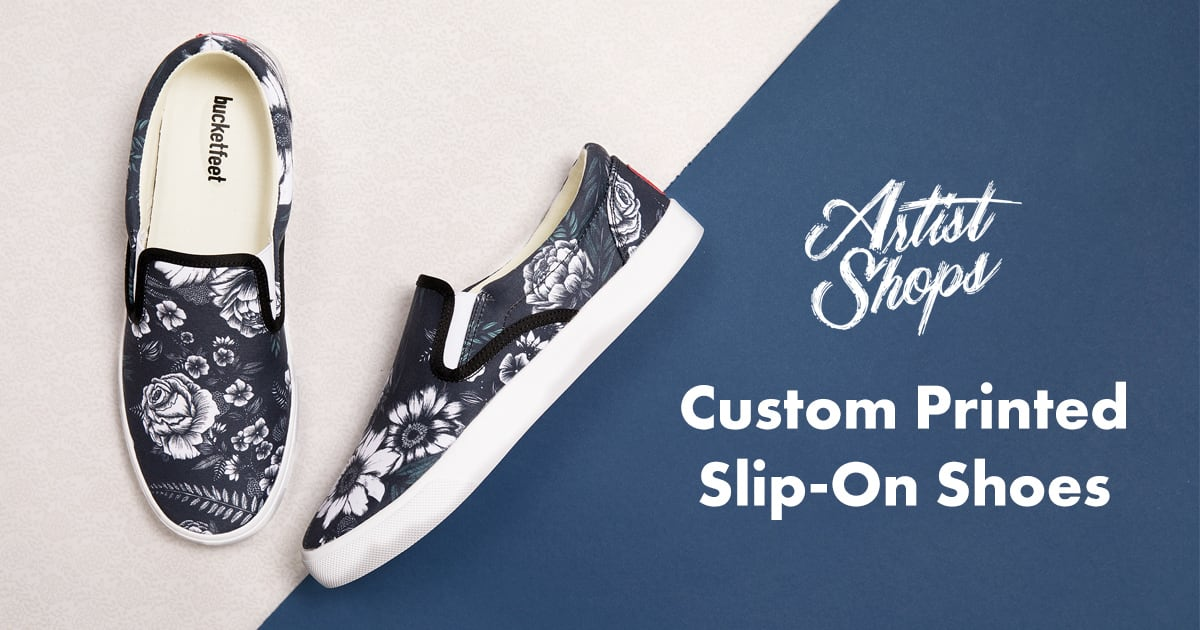 Custom printed Bucketfeet slip-on shoes