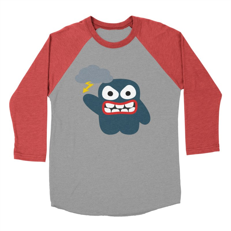 Angry Creature in Men's Baseball Triblend Longsleeve T-Shirt Chili Red Sleeves by B