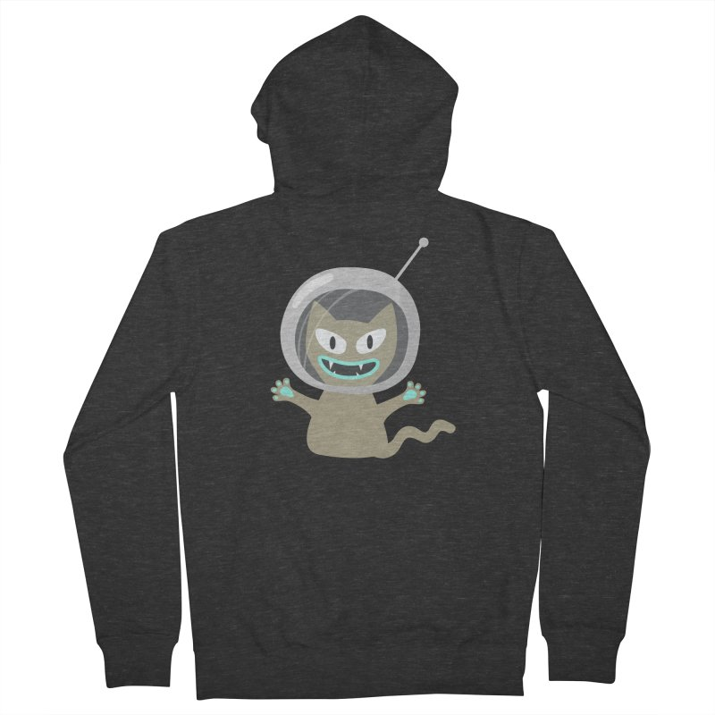 Space Cat in Men's French Terry Zip-Up Hoody Smoke by B