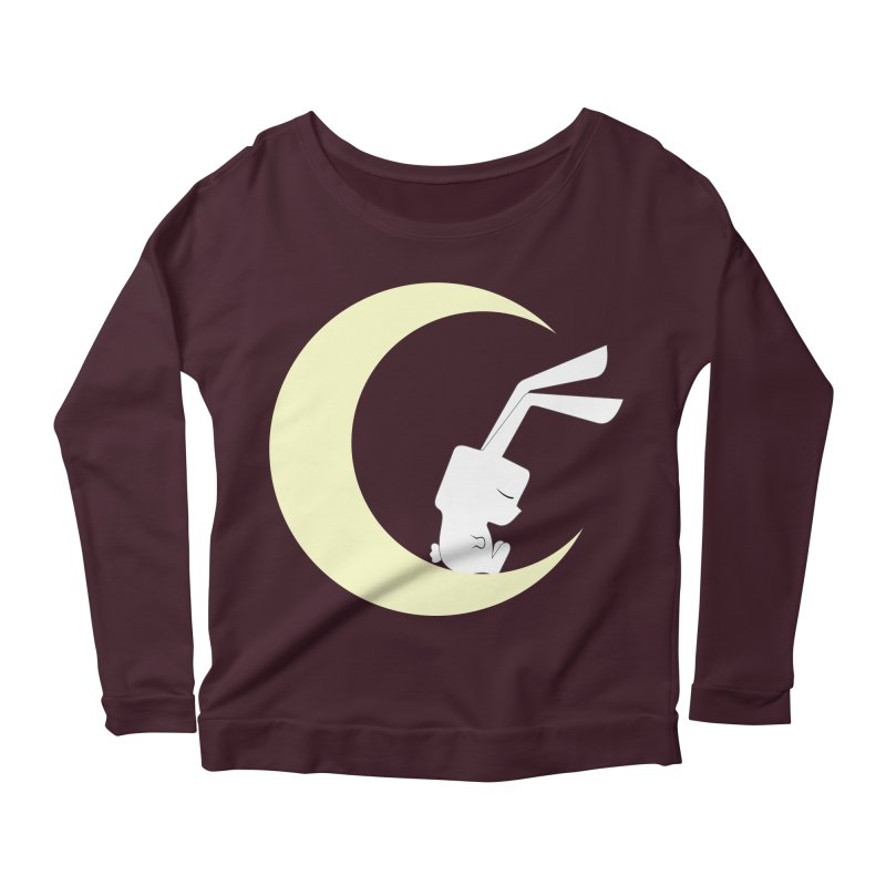 On the moon Women's Longsleeve Scoopneck  by 1001 bunnies