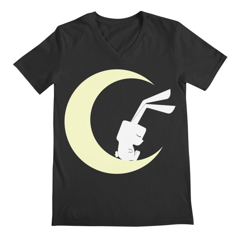 On the moon Men's V-Neck by 1001 bunnies