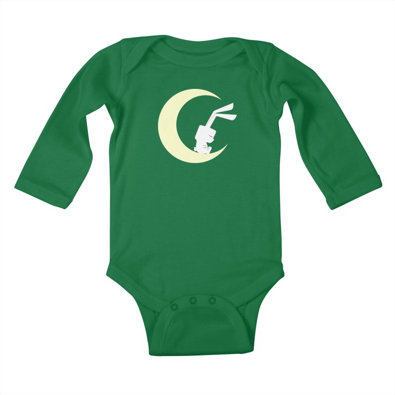 On the moon Kids Baby Longsleeve Bodysuit by 1001 bunnies