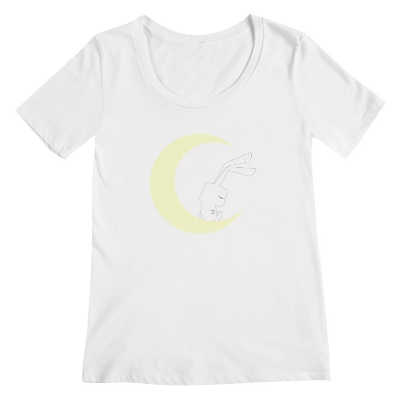 On the moon Women's Scoopneck by 1001 bunnies