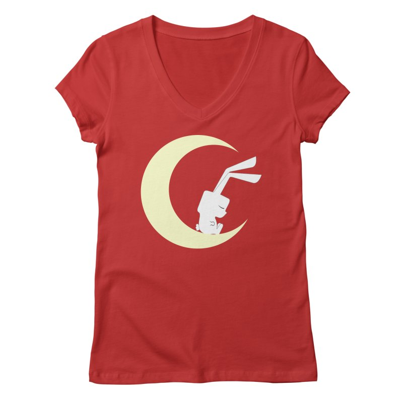 On the moon Women's V-Neck by 1001 bunnies