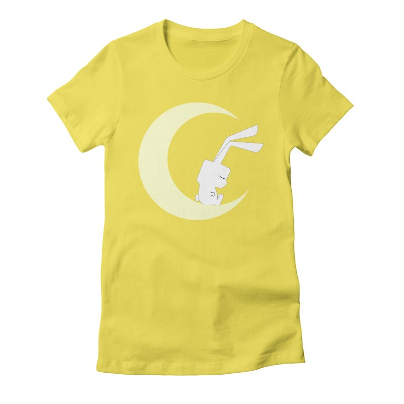 On the moon Women's Fitted T-Shirt by 1001 bunnies