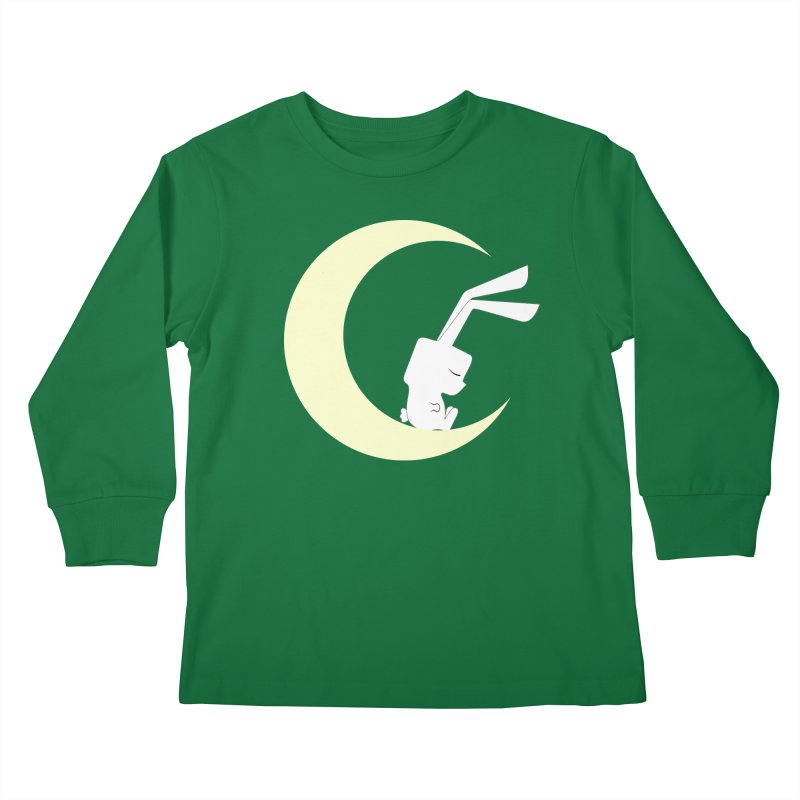 On the moon Kids Longsleeve T-Shirt by 1001 bunnies