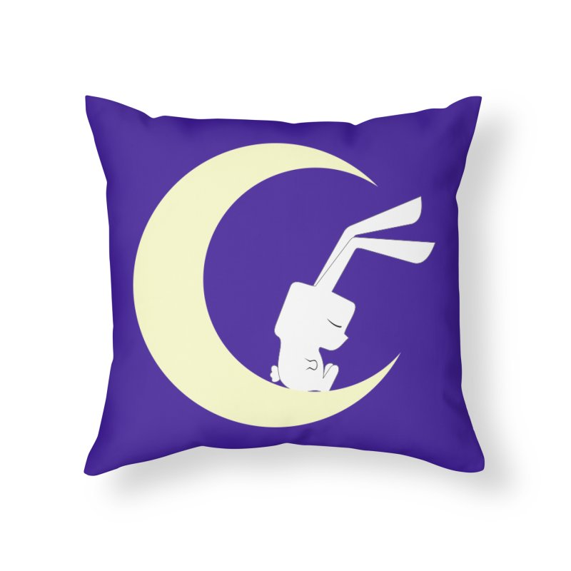 On the moon Home Throw Pillow by 1001 bunnies