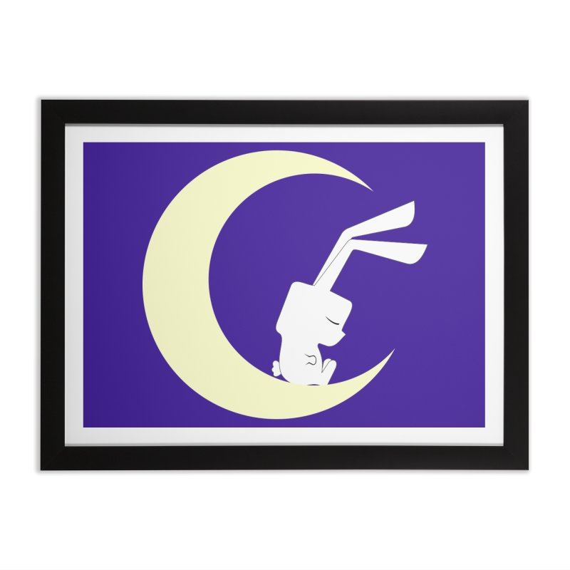 On the moon Home Framed Fine Art Print by 1001 bunnies