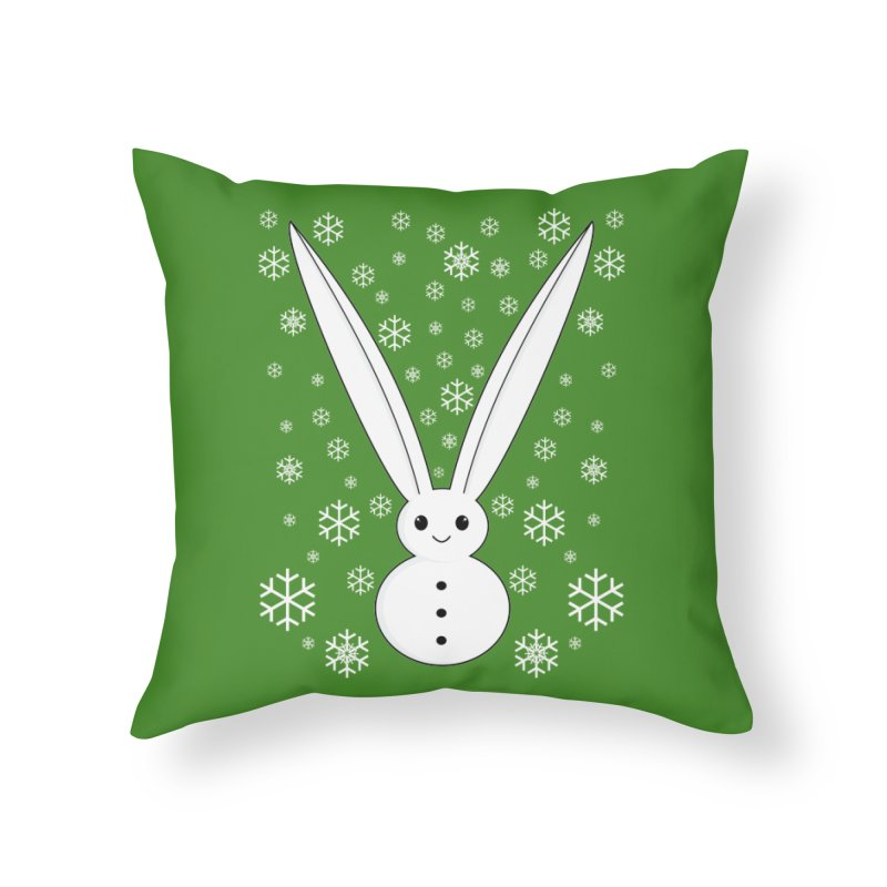 Snow bunny Home Throw Pillow by 1001 bunnies