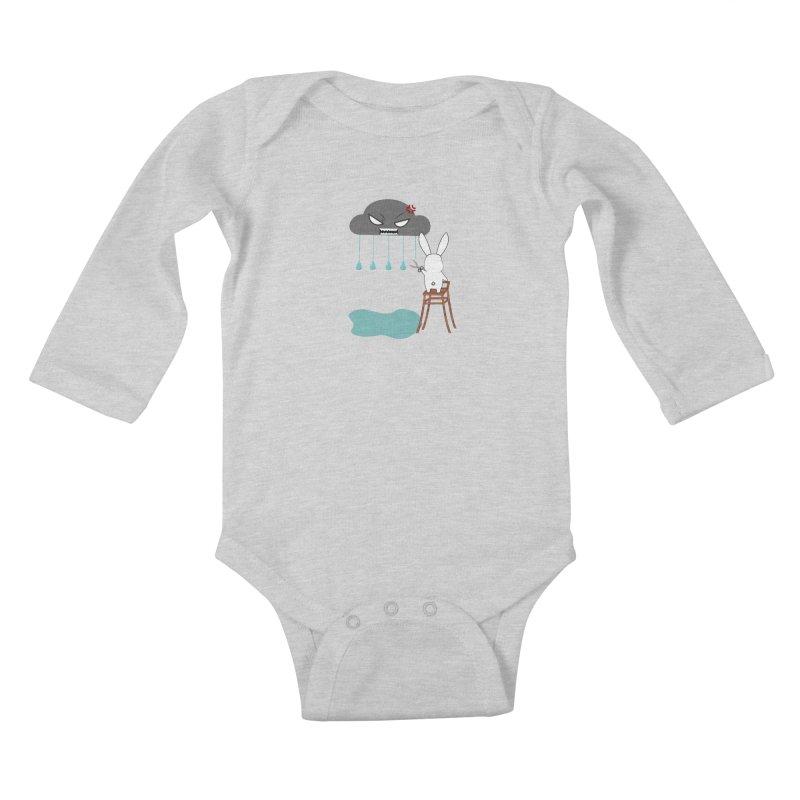 Stopping the rain Kids Baby Longsleeve Bodysuit by 1001 bunnies