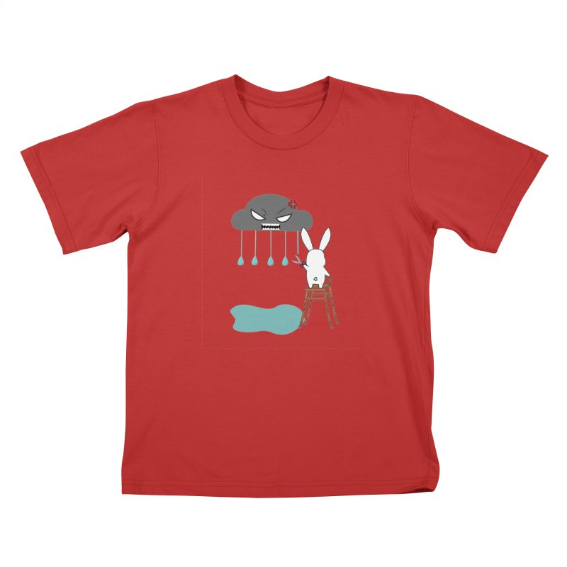 Stopping the rain Kids T-shirt by 1001 bunnies