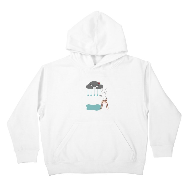 Stopping the rain Kids Pullover Hoody by 1001 bunnies