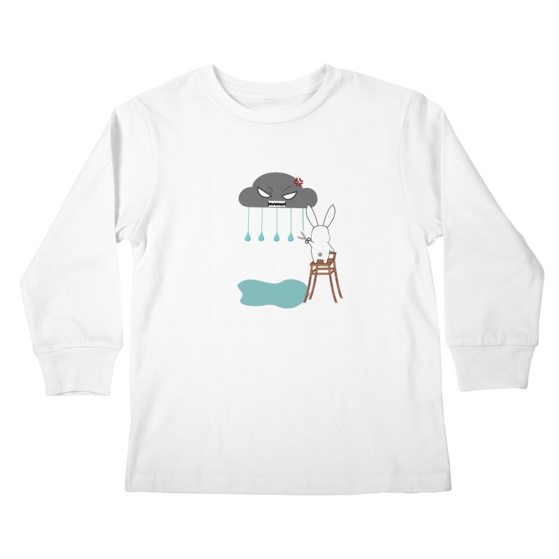 Stopping the rain Kids Longsleeve T-Shirt by 1001 bunnies