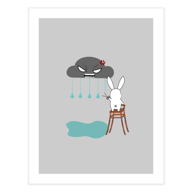 Stopping the rain Home Fine Art Print by 1001 bunnies