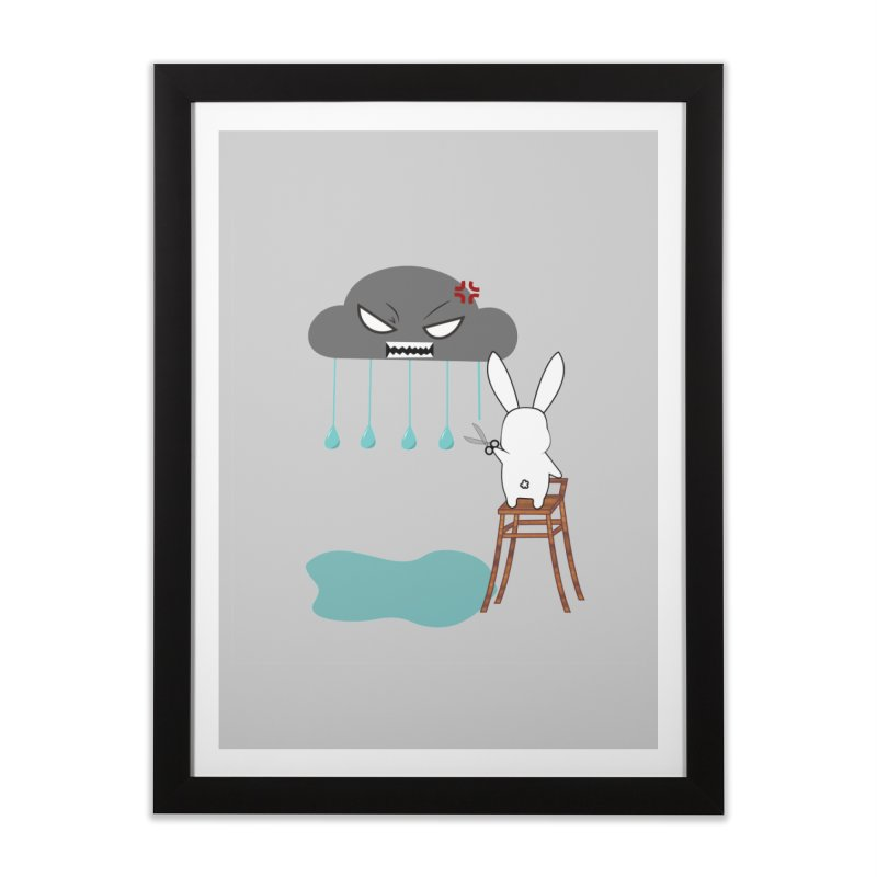 Stopping the rain Home Framed Fine Art Print by 1001 bunnies