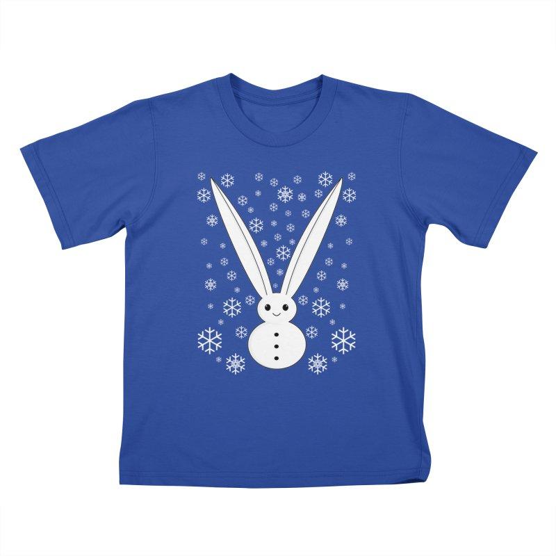 Snow bunny  Kids T-Shirt by 1001 bunnies