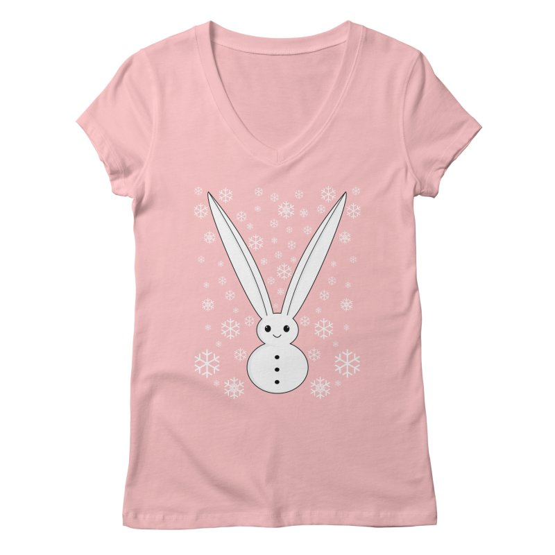 Snow bunny  Women's V-Neck by 1001 bunnies