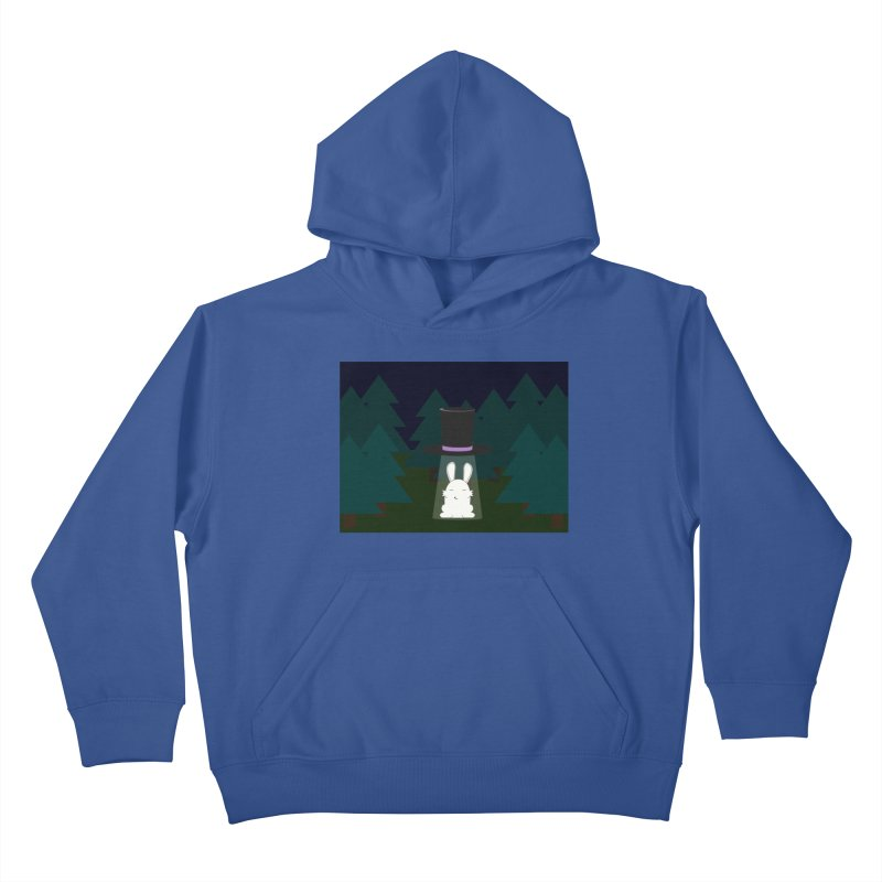 the abduction of Mr. Rabbitson Kids Pullover Hoody by 1001 bunnies