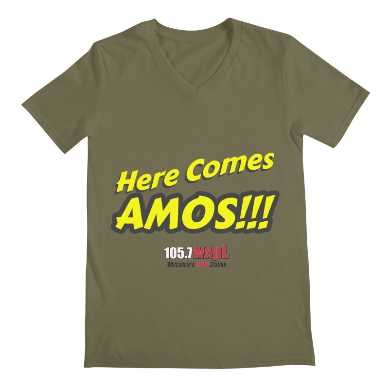 """Here Comes Amos!"" Men's Regular V-Neck by 105.7 WAPL Web Store"