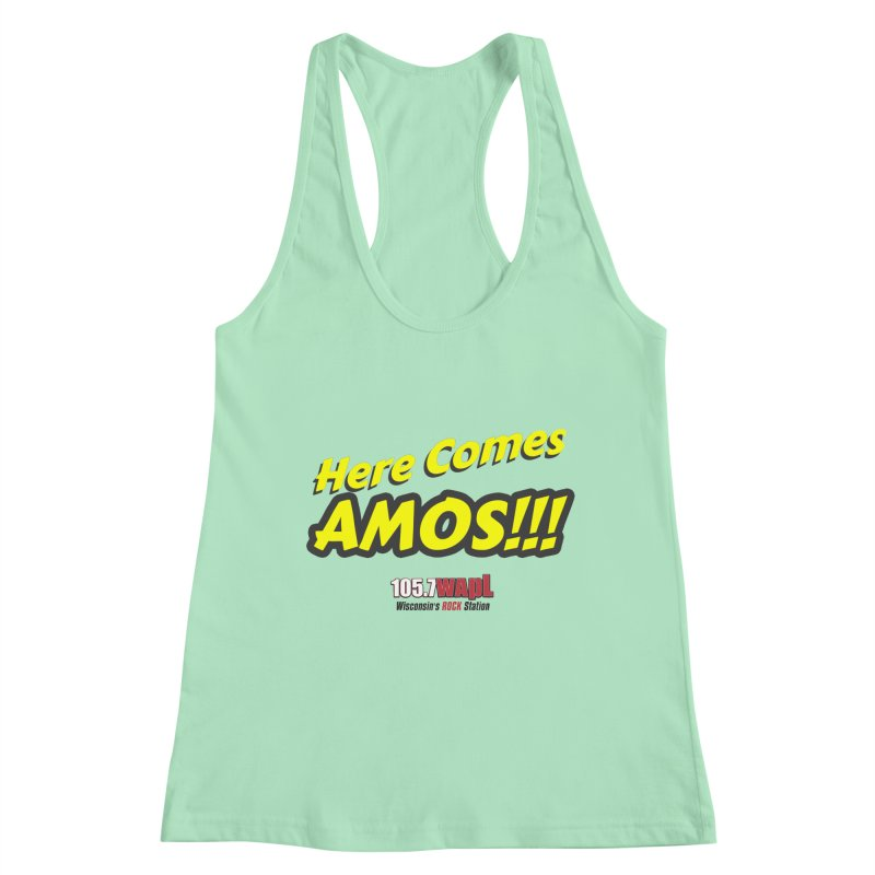 """Here Comes Amos!"" Women's Racerback Tank by 105.7 WAPL Web Store"
