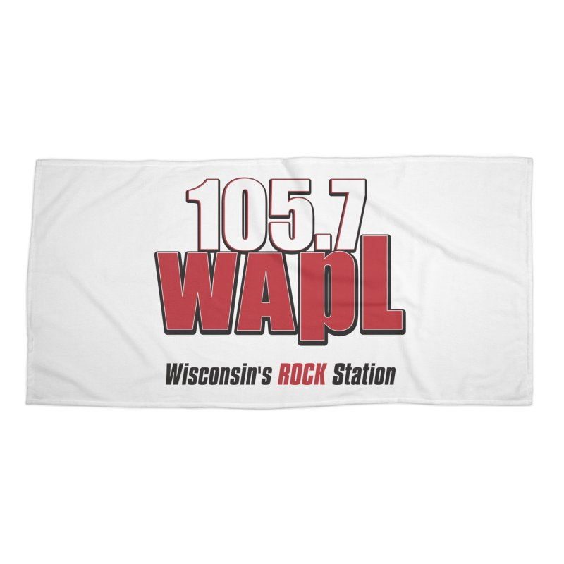 WAPL Stacked Logo (black lettering) Accessories Beach Towel by 105.7 WAPL Web Store