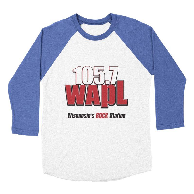 WAPL Stacked Logo (black lettering) Men's Baseball Triblend Longsleeve T-Shirt by 105.7 WAPL Web Store