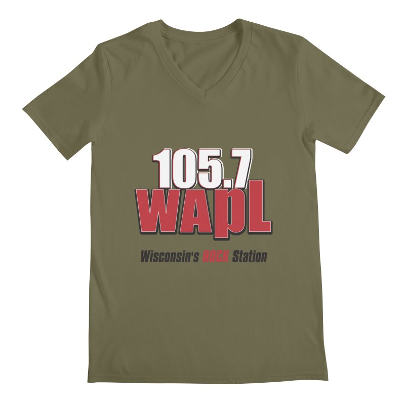 WAPL Stacked Logo (black lettering) Men's Regular V-Neck by 105.7 WAPL Web Store