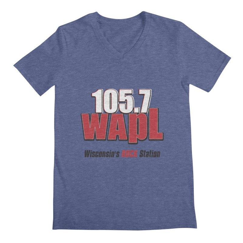 WAPL Stacked Logo (black lettering) Men's Regular V-Neck by 105.7 WAPL Web Store