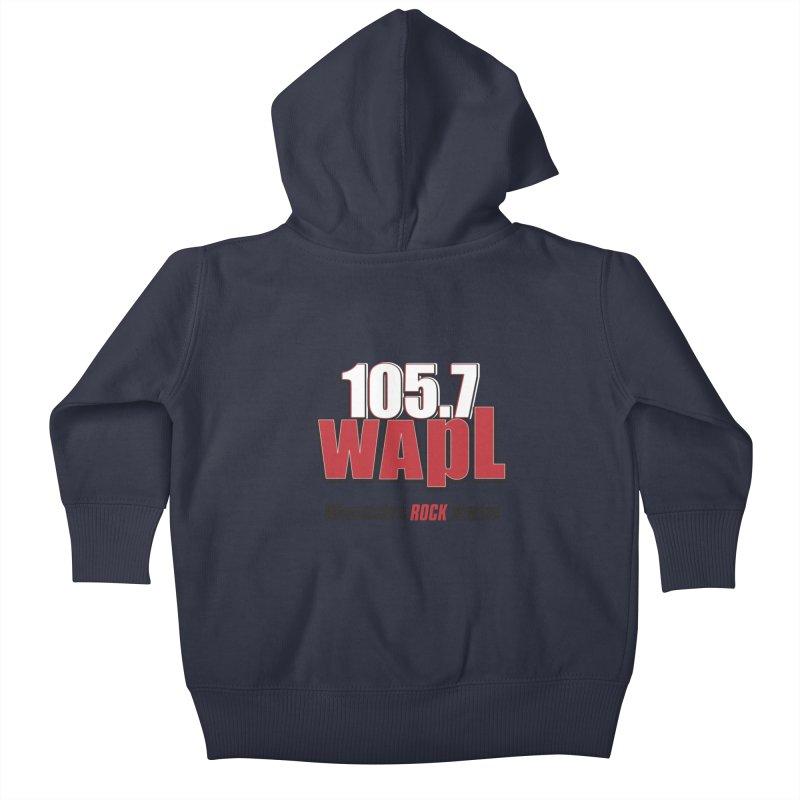 WAPL Stacked Logo (black lettering) Kids Baby Zip-Up Hoody by 105.7 WAPL Web Store