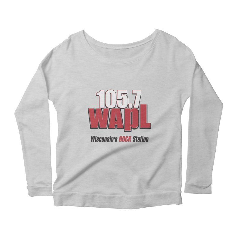 WAPL Stacked Logo (black lettering) Women's Scoop Neck Longsleeve T-Shirt by 105.7 WAPL Web Store