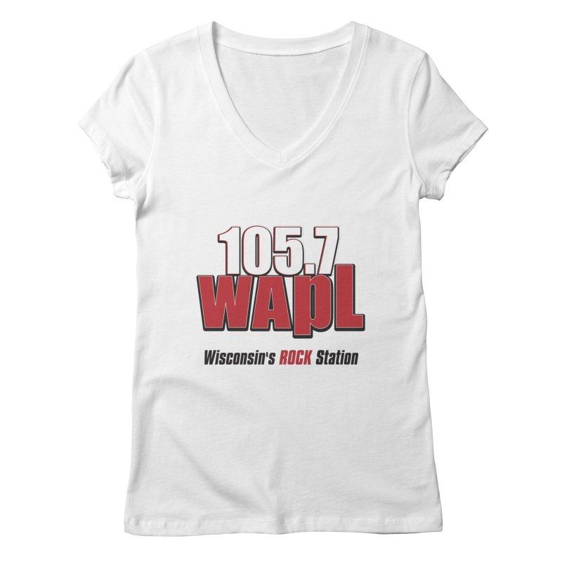 WAPL Stacked Logo (black lettering) Women's Regular V-Neck by 105.7 WAPL Web Store