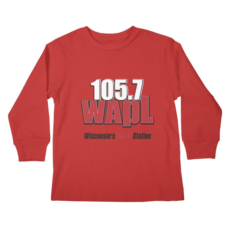 WAPL Stacked Logo (black lettering) Kids Longsleeve T-Shirt by 105.7 WAPL Web Store