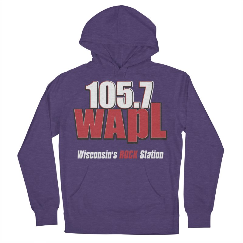 WAPL Stacked Logo (white lettering) Men's French Terry Pullover Hoody by 105.7 WAPL Web Store