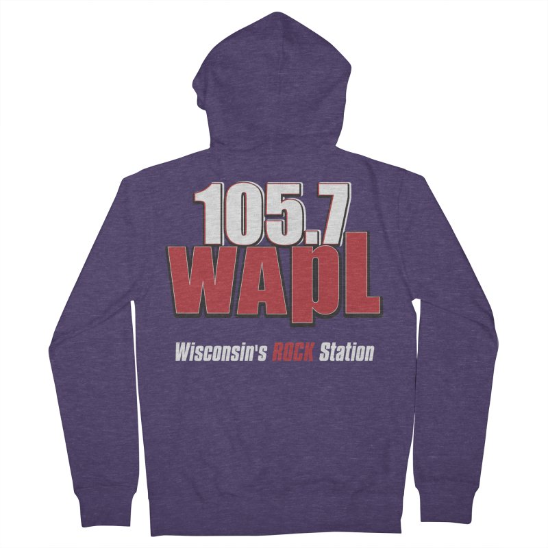 WAPL Stacked Logo (white lettering) Men's French Terry Zip-Up Hoody by 105.7 WAPL Web Store