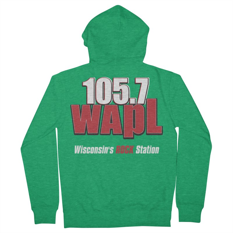 WAPL Stacked Logo (white lettering) Men's Zip-Up Hoody by 105.7 WAPL Store