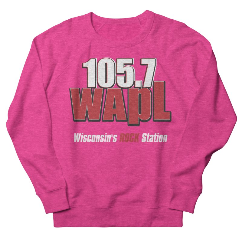 WAPL Stacked Logo (white lettering) Women's French Terry Sweatshirt by 105.7 WAPL Web Store