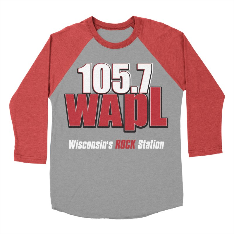 WAPL Stacked Logo (white lettering) Women's Baseball Triblend Longsleeve T-Shirt by 105.7 WAPL Web Store