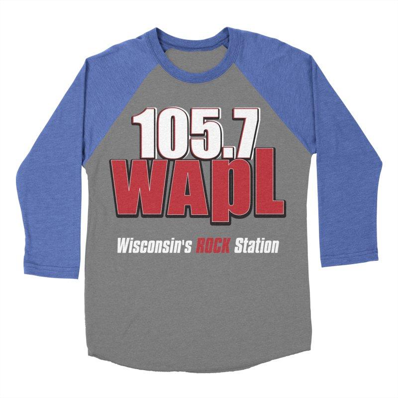 WAPL Stacked Logo (white lettering) Men's Baseball Triblend Longsleeve T-Shirt by 105.7 WAPL Web Store